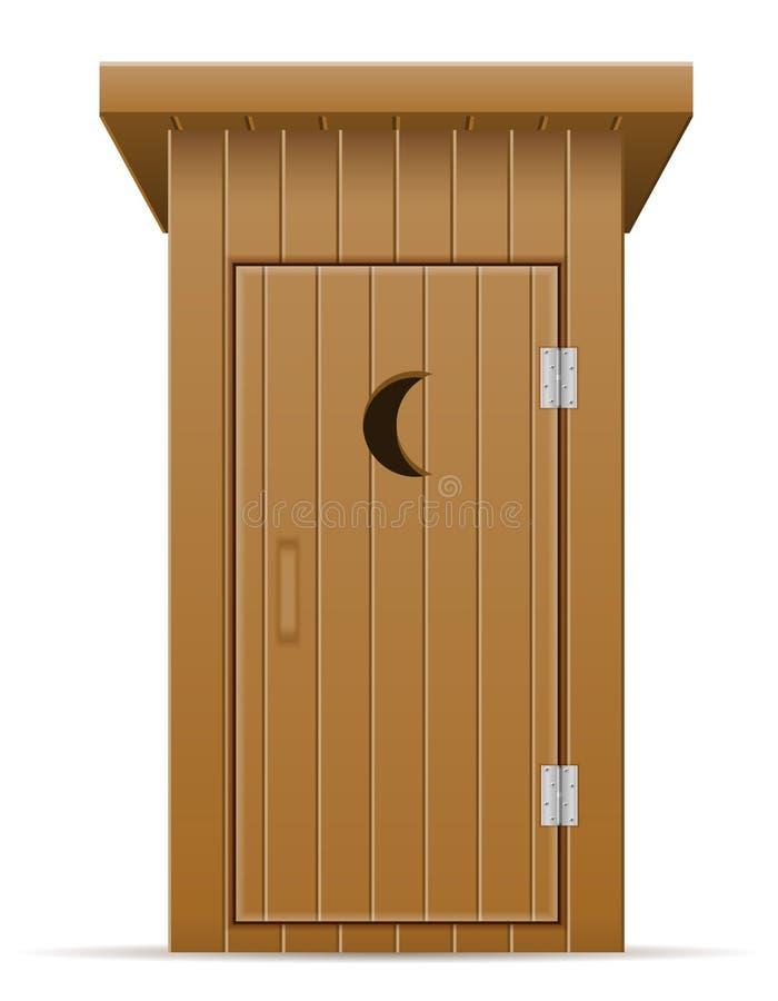 Ilustração exterior de madeira do vetor do toalete ilustração do vetor