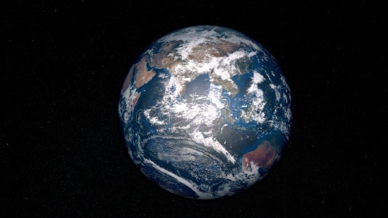 Ilustração extremamente detalhada e realística da alta resolução 3D da terra Disparado do espaço ilustração royalty free