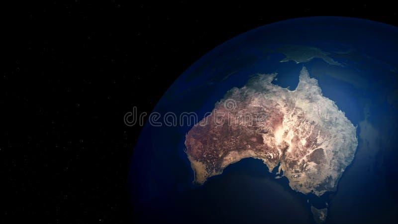 Ilustração extremamente detalhada e realística da alta resolução 3D de Austrália Disparado do espaço ilustração do vetor