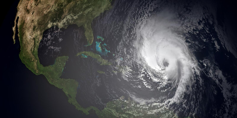 Ilustração extremamente detalhada e realística da alta resolução 3d de 3 furacões que aproximam as ilhas das Caraíbas e o Florida ilustração royalty free