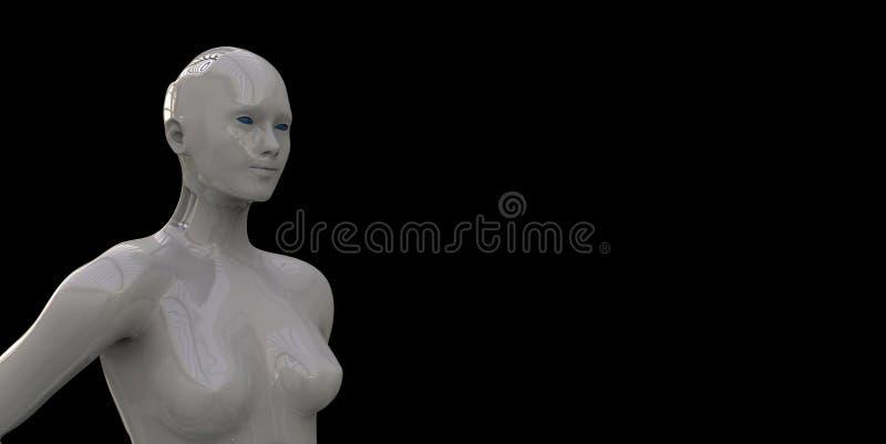 Ilustração extremamente detalhada e realística da alta resolução 3d de um androide do humanoid ilustração royalty free