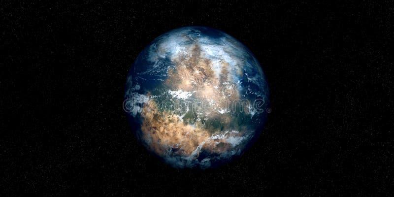 Ilustração extremamente detalhada e realística da alta resolução 3D de um Exoplanet Disparado do espaço ilustração royalty free