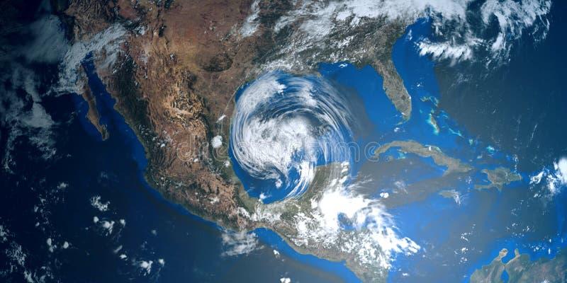 Ilustração extremamente detalhada e realística da alta resolução 3D de um furacão que aproxima EUA Disparado do espaço ilustração stock