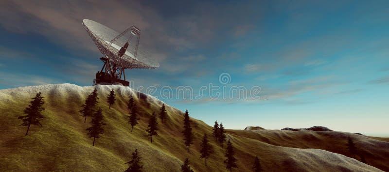 Ilustração extremamente detalhada e realística da alta resolução 3d de uma antena parabólica grande de uma comunicação Os element ilustração stock