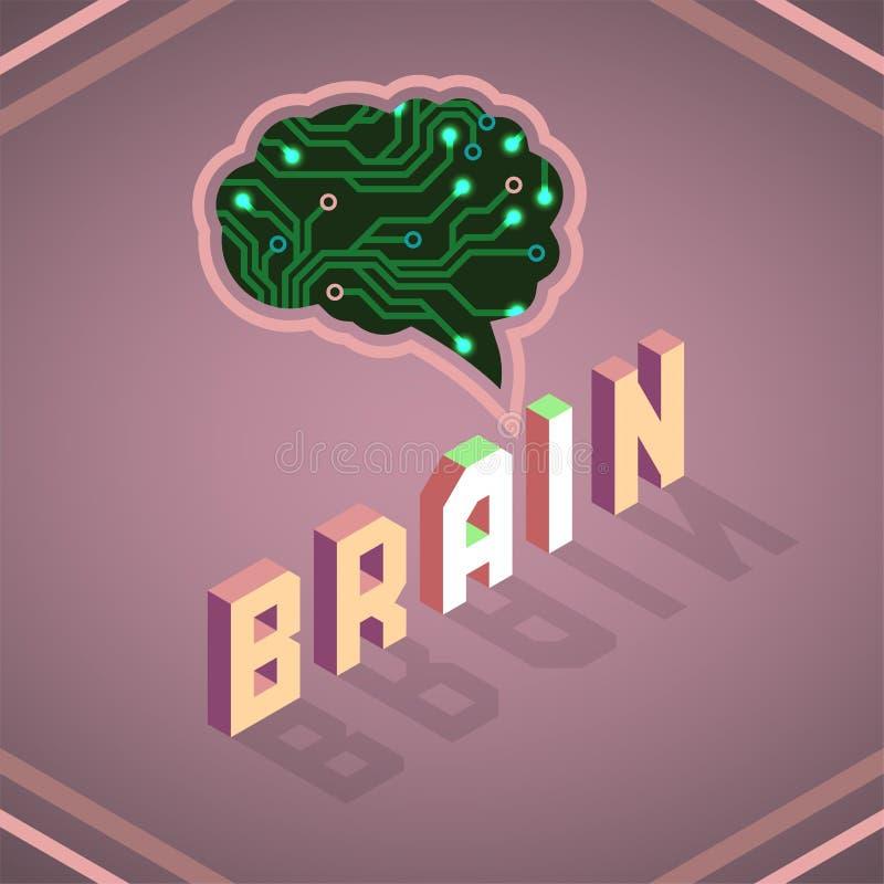 Ilustração fêmea do vetor da inteligência artificial da placa de circuito na obscuridade ilustração royalty free