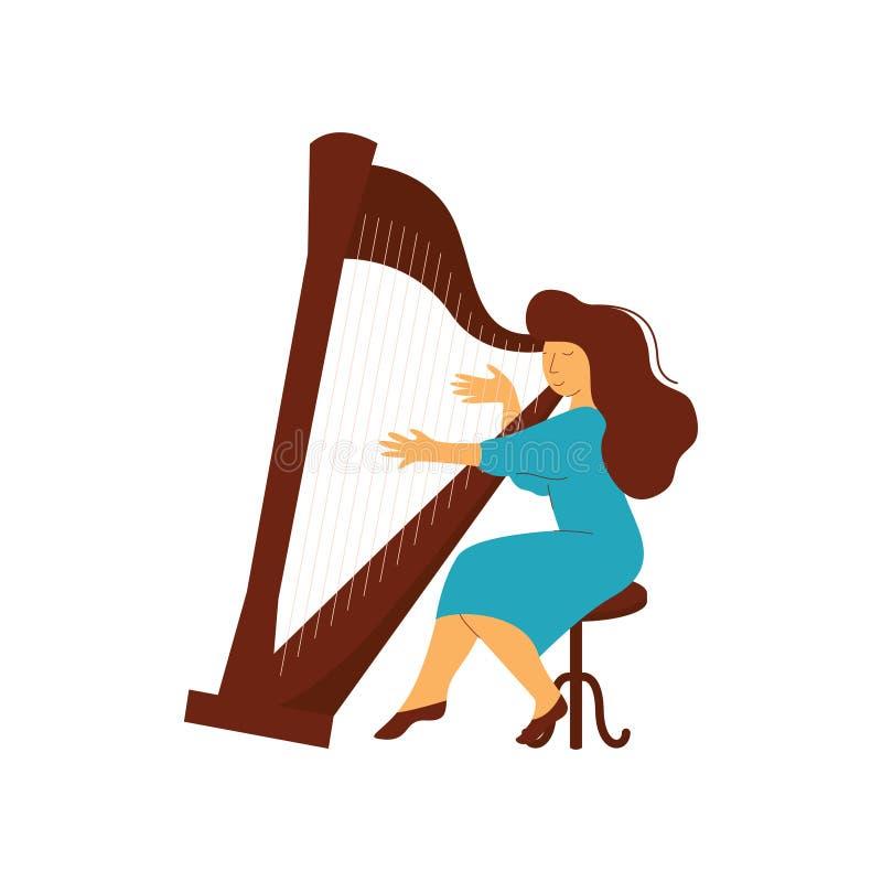 Ilustração fêmea do vetor do instrumento musical de Playing Harp Classical do músico ilustração stock