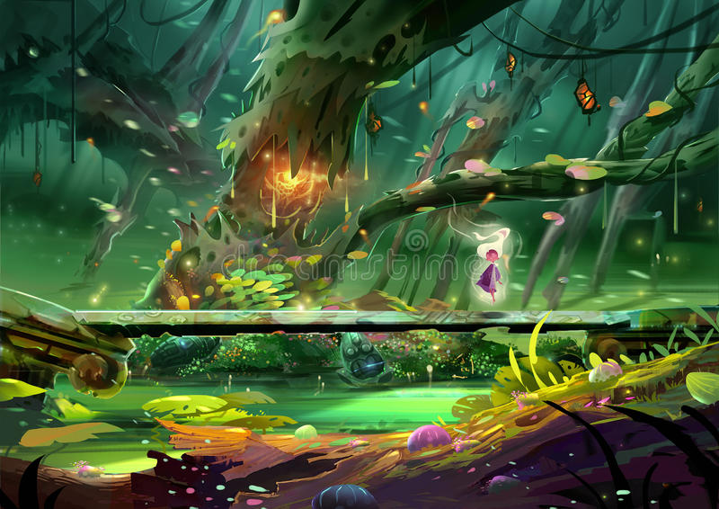 Ilustração: A fada está fazendo a carcaça do período em uma ponte de pedra profundamente dentro da floresta magnífica, perto de u ilustração royalty free