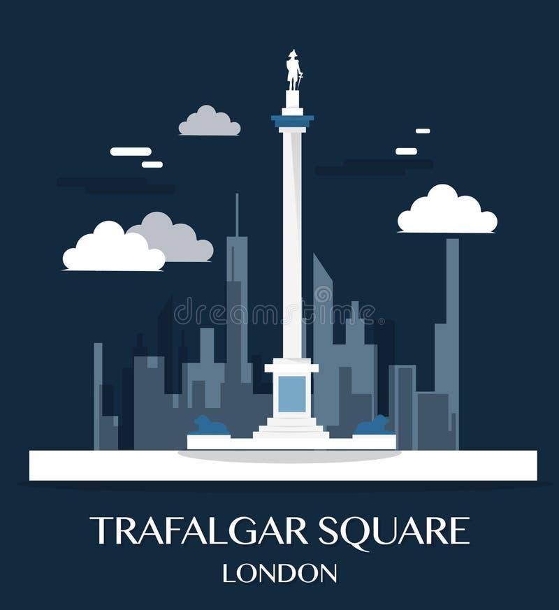 Ilustração famosa de Trafalgar Square do marco de Londres ilustração royalty free