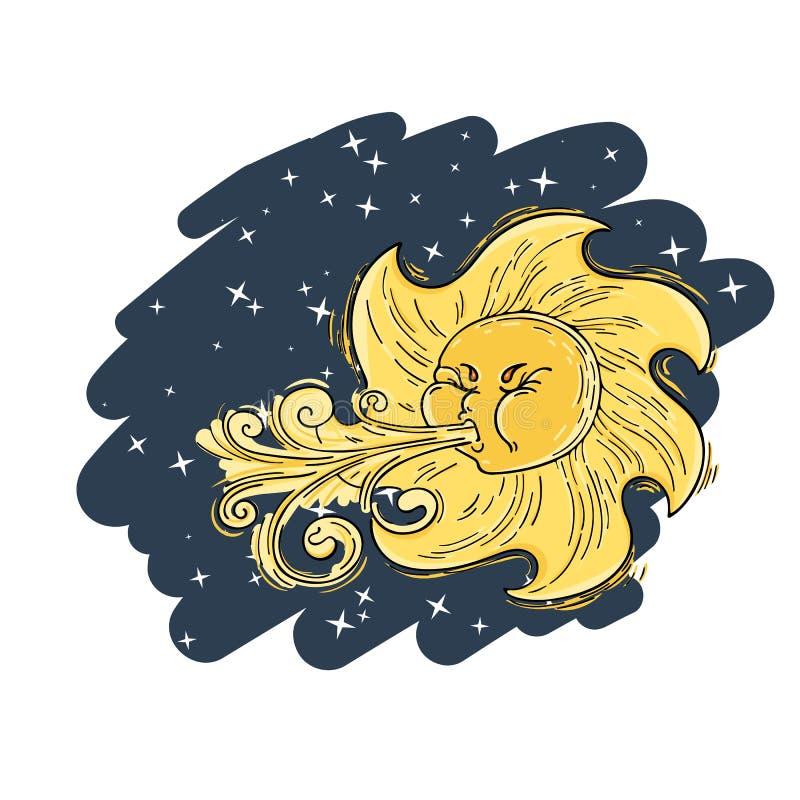 Ilustração fantástica do vetor com o vento solar ilustração do vetor