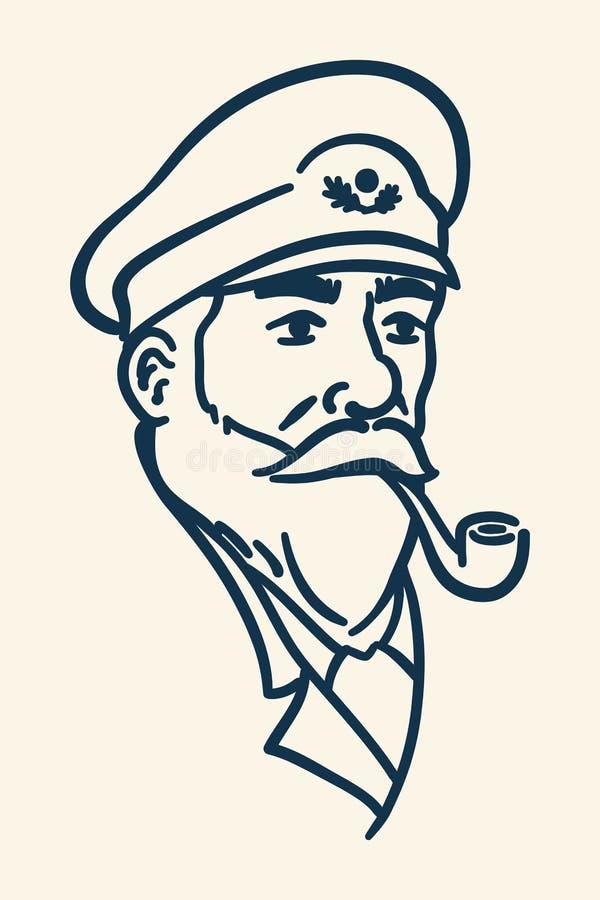Ilustração farpada da tubulação de fumo do capitão do barco ilustração royalty free