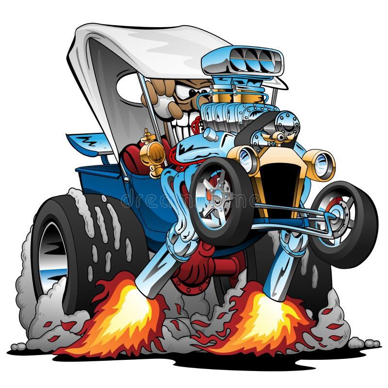 Ilustração feita sob encomenda do vetor dos desenhos animados de Hotrod da barata da T-cubeta ilustração royalty free