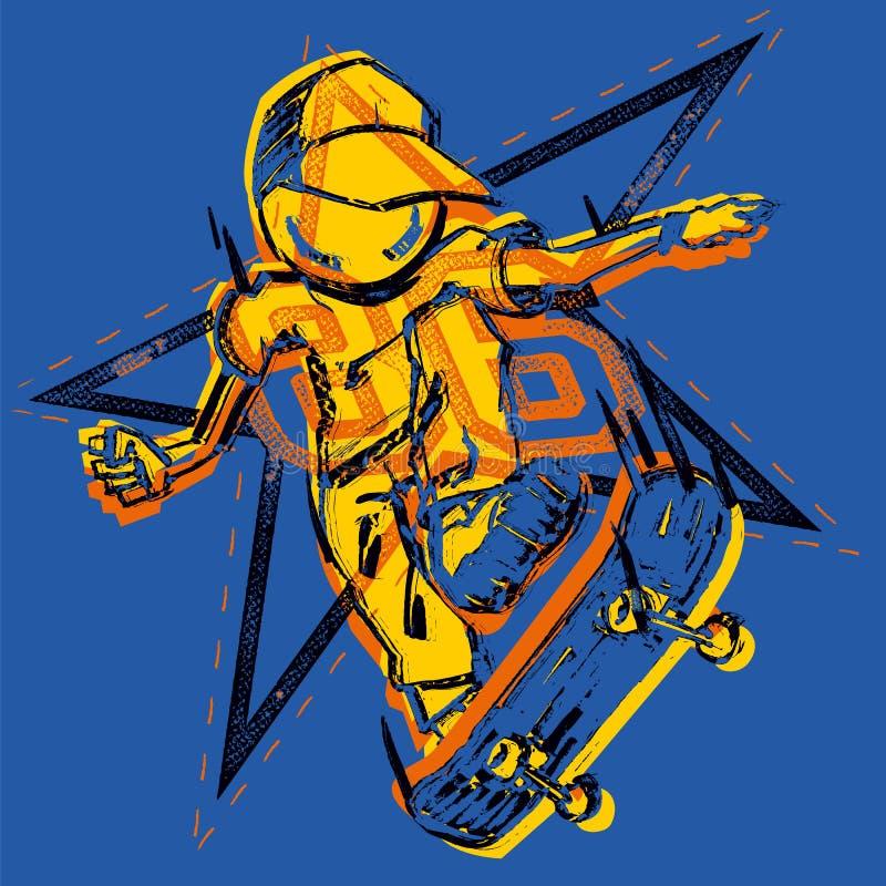 Ilustração feito a mão do vetor do skater com estrela-forma preta no fundo azul ilustração stock
