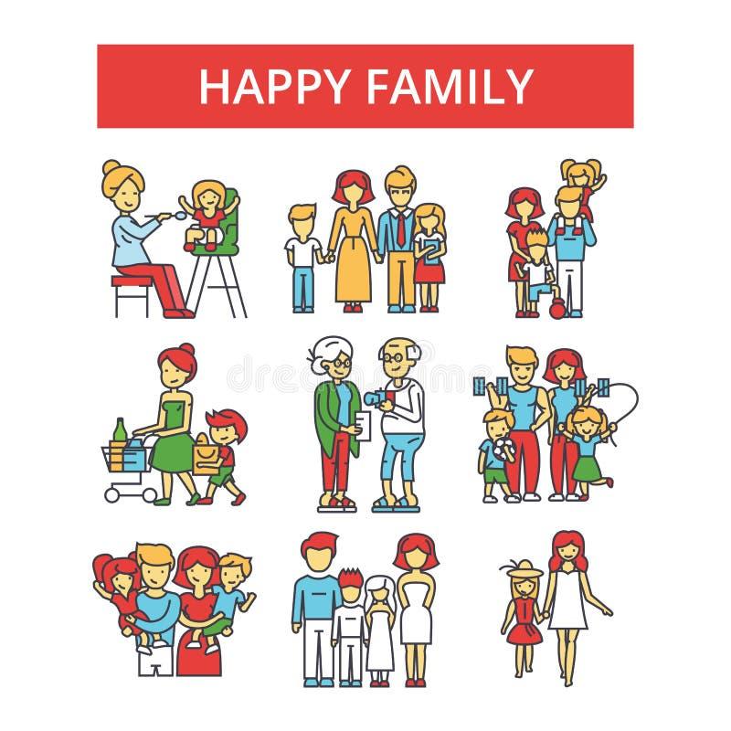 Ilustração feliz da família, linha fina ícones, sinais lisos lineares, símbolos do vetor ilustração do vetor