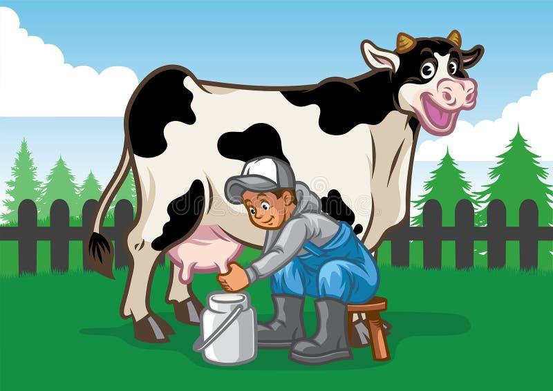 Ilustração feliz da vaca quando a ordenha do fazendeiro ilustração do vetor