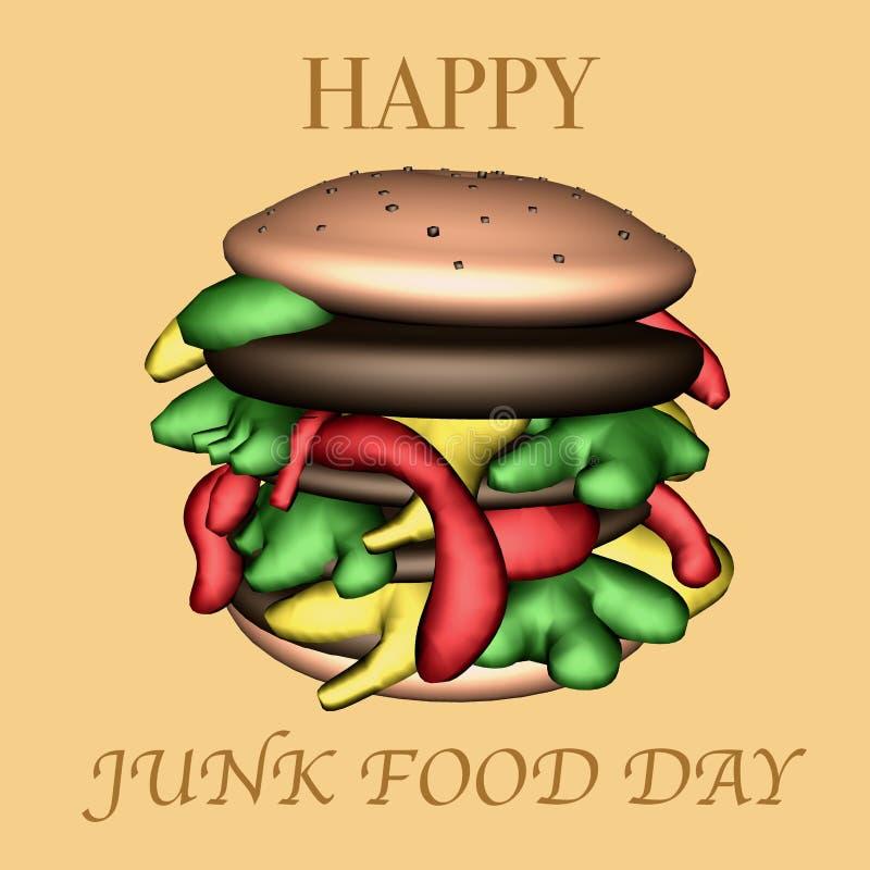 Ilustração feliz do dia 3D da comida lixo fotos de stock royalty free
