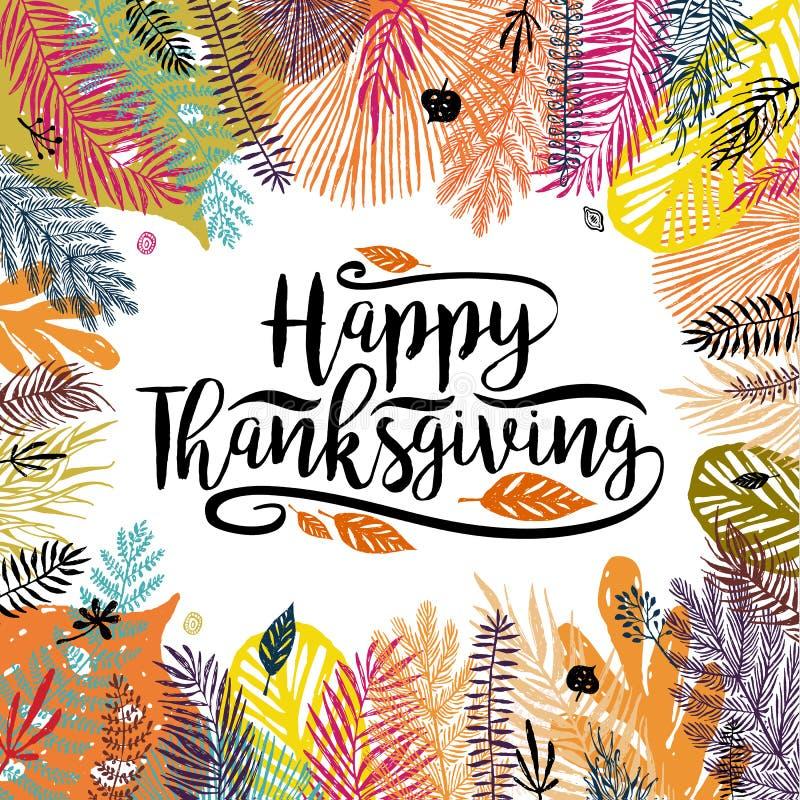 Ilustração feliz do dia da ação de graças com fundo na moda multicolorido do outono Grande elemento do projeto para felicitações