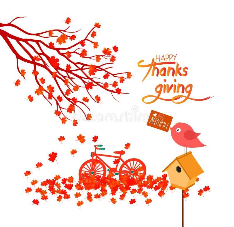 Ilustração feliz do dia da ação de graças de uma floresta no outono com queda das folhas ilustração stock