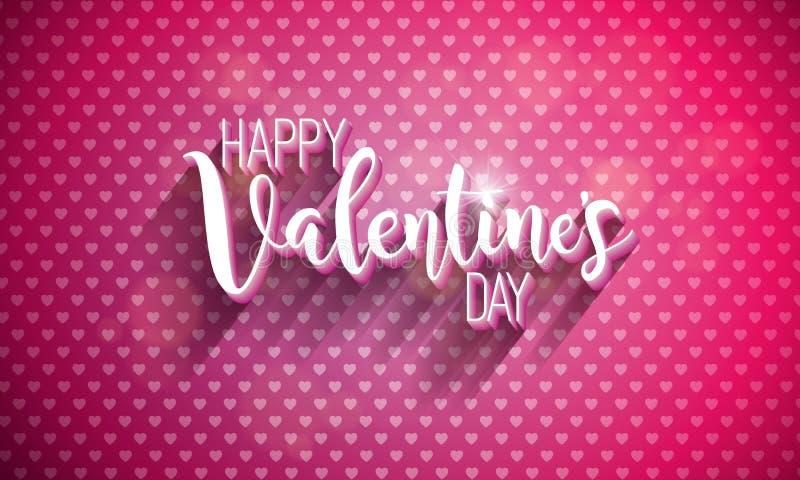 Ilustração feliz do dia de Valentim com letra da tipografia no fundo vermelho da textura do coração Casamento do vetor e tema do  ilustração royalty free