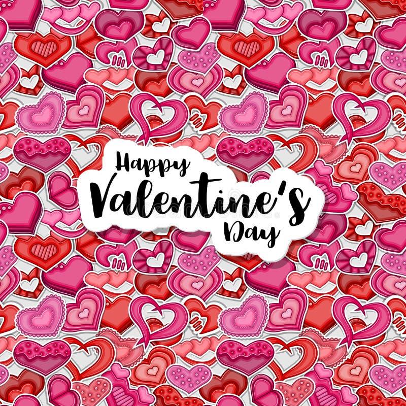 Ilustração feliz do dia de Valentim para o cartão, convite do partido, bandeira da Web Corações do estilo dos desenhos animados q ilustração stock