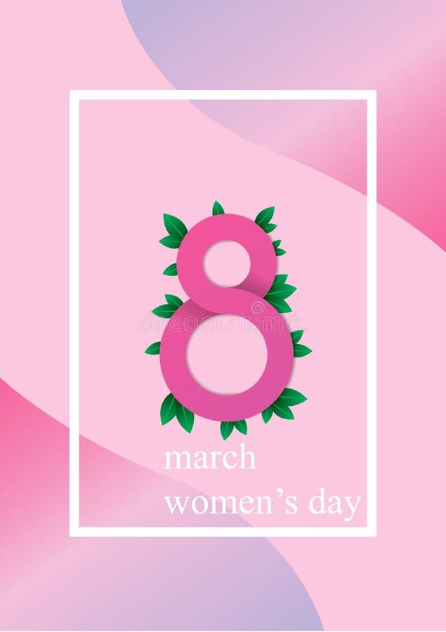 Ilustração feliz do feriado do dia das mulheres corte do papel ilustração do vetor