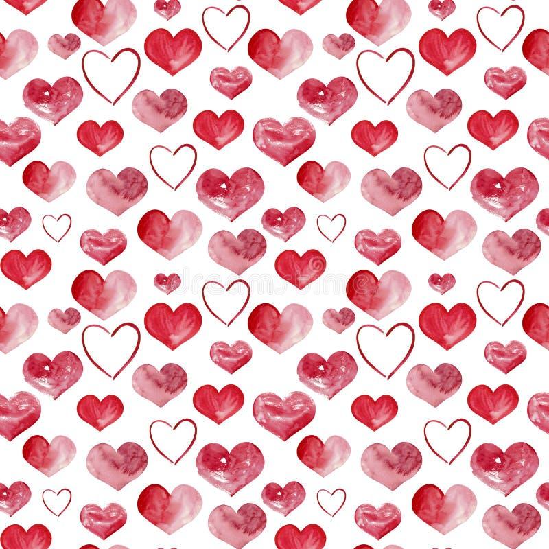 Ilustração feliz do fundo dos corações da aquarela do dia de Valentim Teste padrão sem emenda imagem de stock