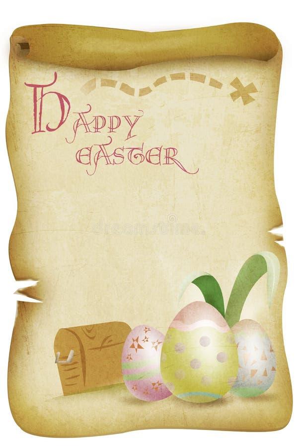 Ilustração feliz do mapa da caça do ovo da páscoa do vintage ilustração royalty free