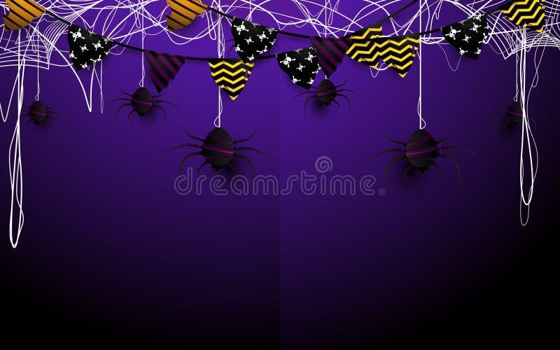 Ilustração feliz do projeto do Dia das Bruxas Festões das bandeiras e fundo da Web de aranha ilustração do vetor
