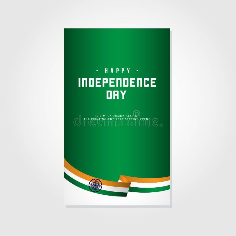Ilustração feliz do projeto do molde do vetor do Dia da Independência da Índia ilustração do vetor