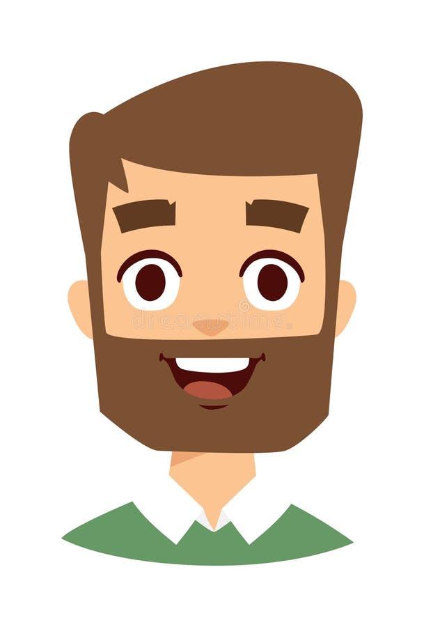 Ilustração feliz do vetor da cara do homem ilustração royalty free