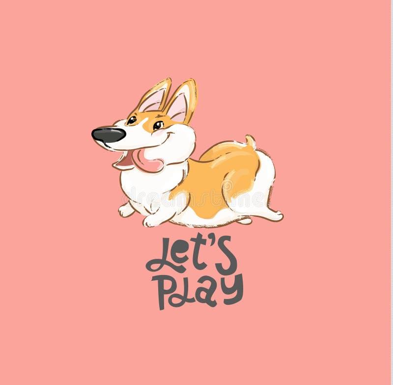 Ilustração feliz do vetor da corrida do caráter do cão do Corgi Cópia aberta da tipografia da língua da mostra da boca do jogo an ilustração royalty free
