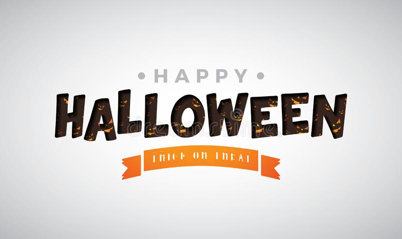 Ilustração feliz do vetor de Dia das Bruxas com rotulação da tipografia no fundo branco Projeto do feriado para o cartão ilustração royalty free
