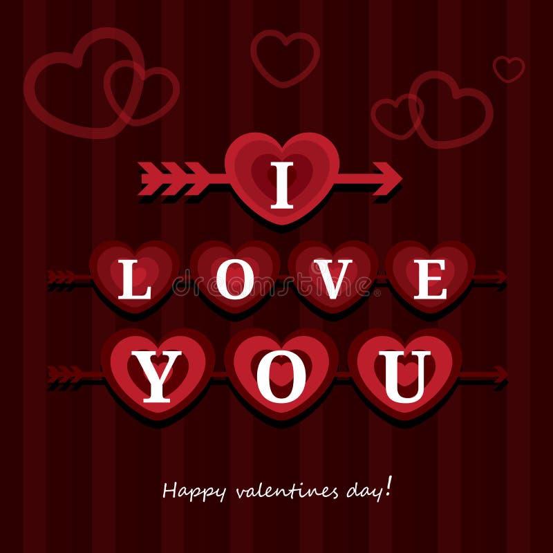 Ilustração feliz do vetor de Valentine Day do cartão eu te amo Projeto do teste padrão Inseto ou convite ilustração do vetor