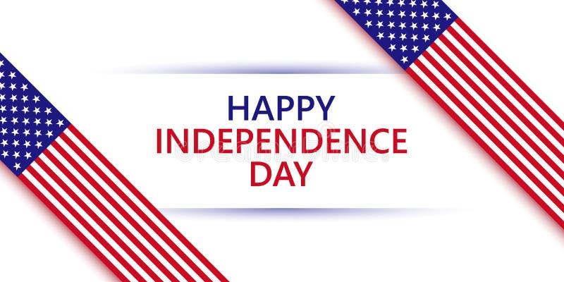 Ilustração feliz do vetor do Dia da Independência para a celebração do feriado dos EUA Fitas brancas vermelhas azuis das cores da ilustração do vetor