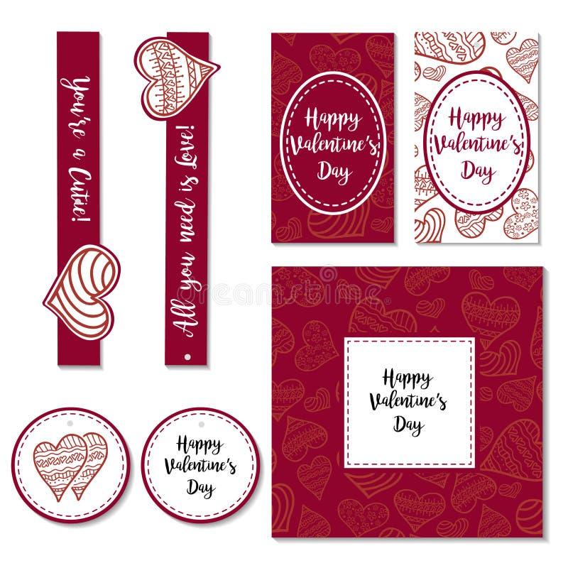 Ilustração feliz do vetor do dia de Valentim Projeto de rotulação do desenho da mão ilustração stock