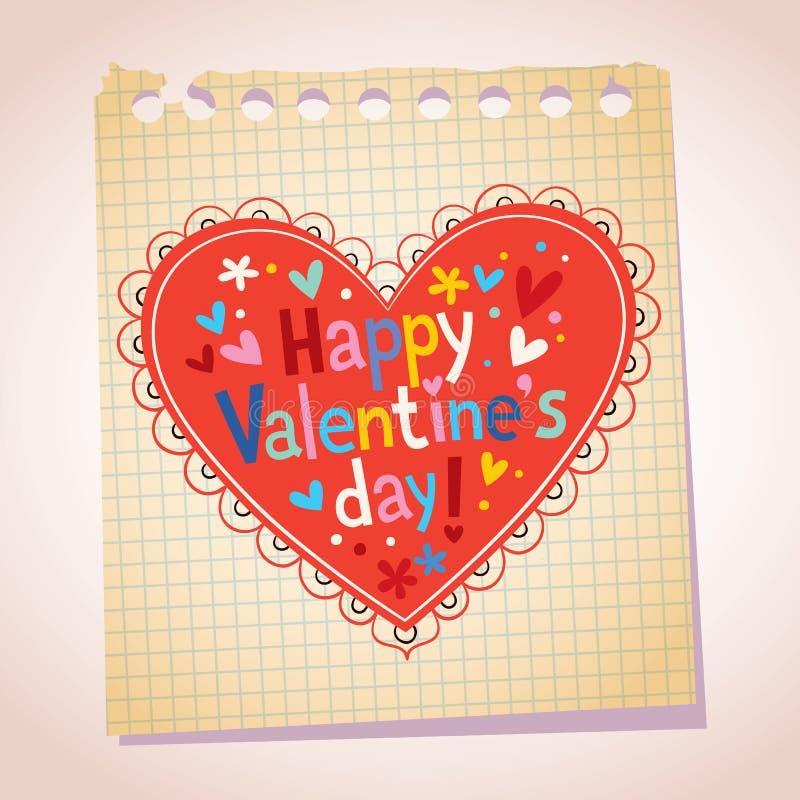Ilustração feliz dos desenhos animados do papel de nota do dia de Valentim ilustração do vetor