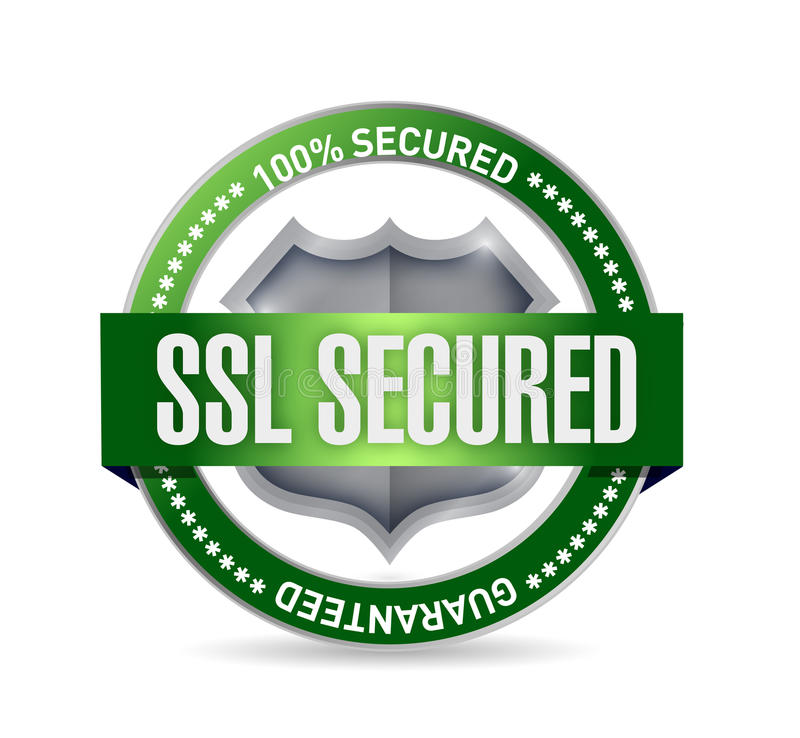 Ilustração fixada SSL do selo ou do protetor ilustração do vetor