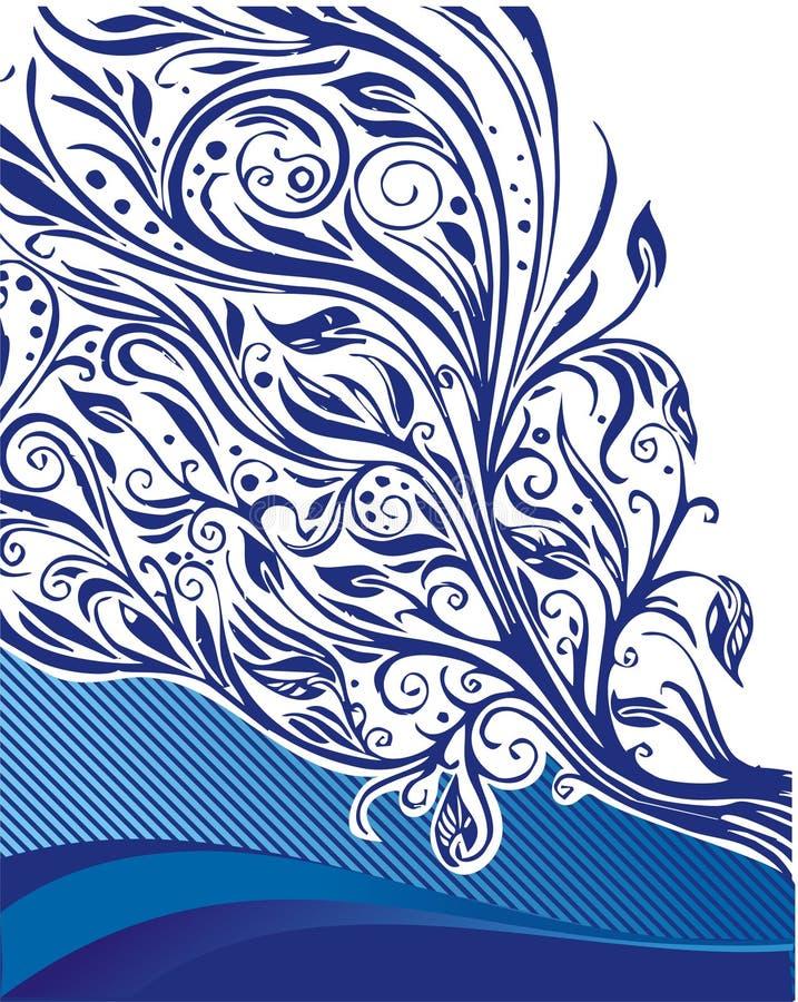 Ilustração floral azul ilustração stock