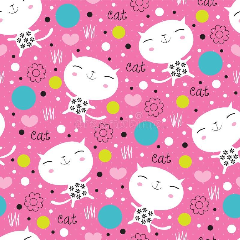Ilustração floral bonito sem emenda do vetor do teste padrão do gato ilustração stock