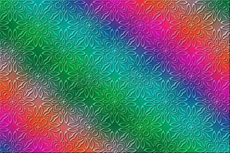 Ilustração floral colorida do vetor do fundo do teste padrão 3d ilustração stock