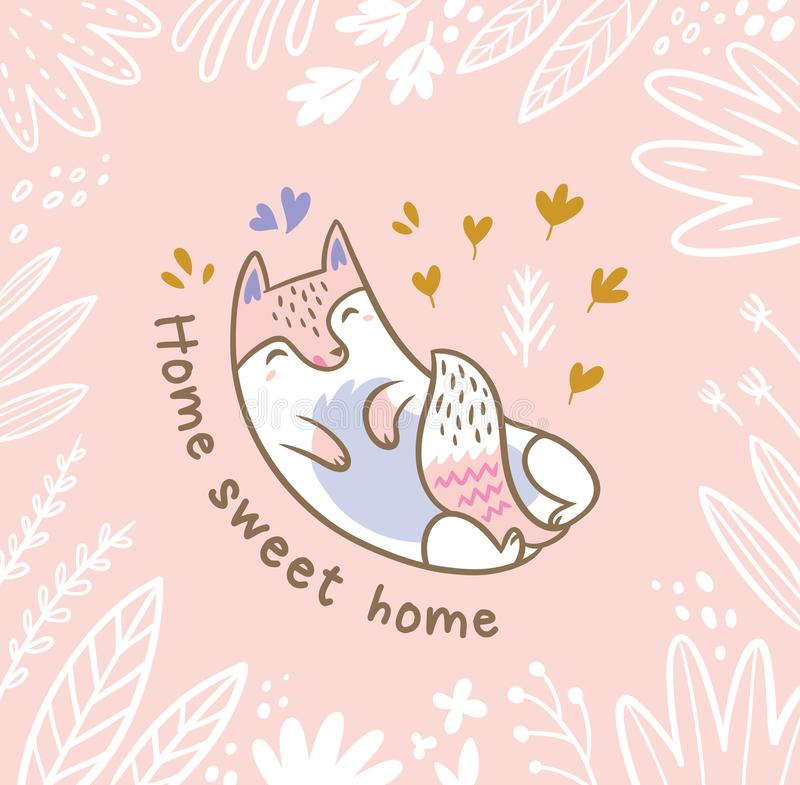 Ilustração floral com gato ou a raposa branca nas folhas Texto home doce home ilustração do vetor