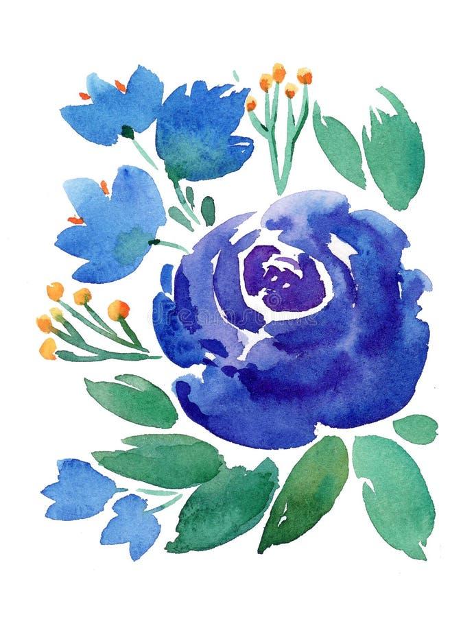 Ilustração floral da aquarela do boho do desenho da mão com flores azuis, ramos, folhas ilustração do vetor