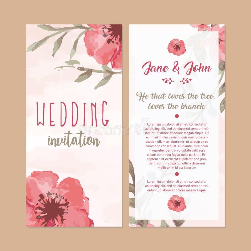 Ilustração floral da aquarela do cartão do convite do casamento foto de stock