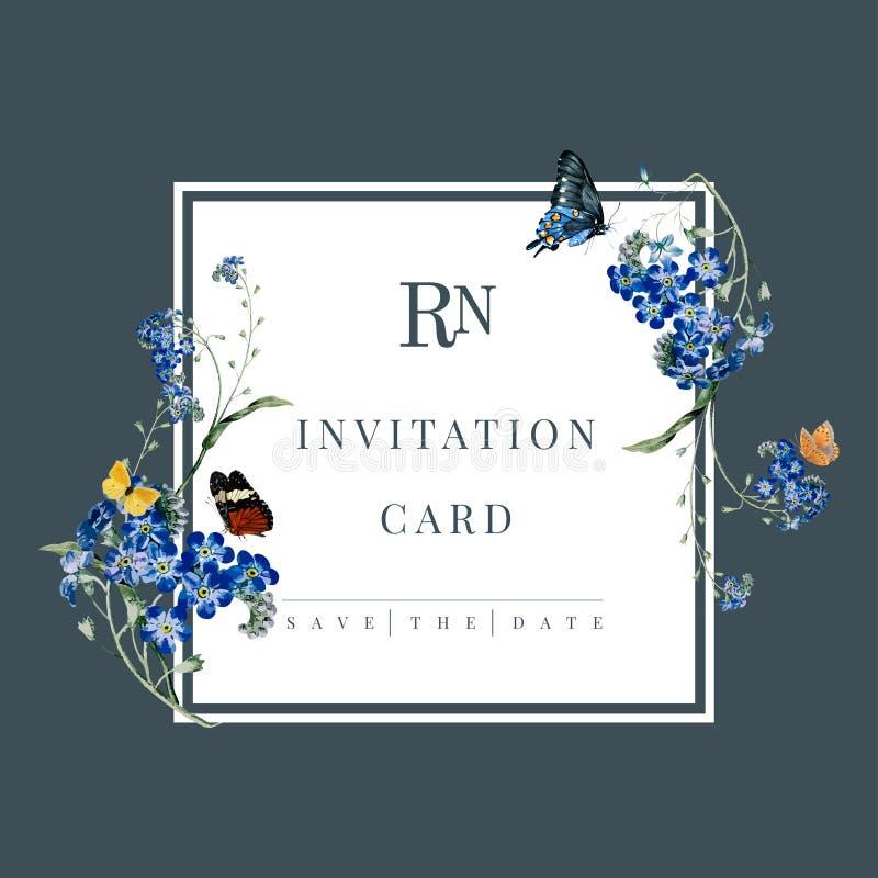 Ilustração floral do cartão do convite do casamento ilustração royalty free