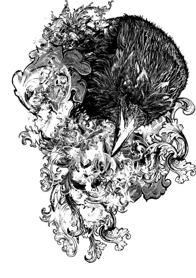 Ilustração floral do corvo ilustração do vetor