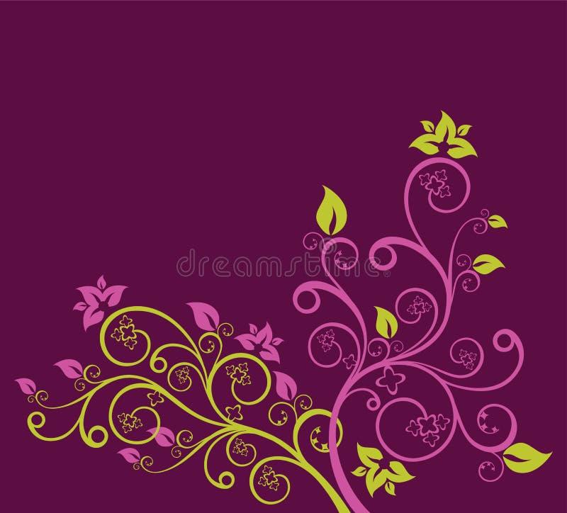 Ilustração floral verde e roxa do vetor ilustração do vetor
