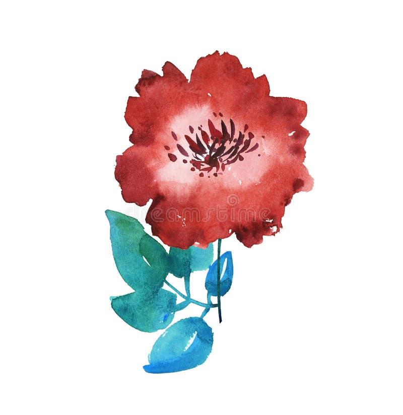 Ilustração floral vermelha brilhante decorativa da aquarela ilustração do vetor