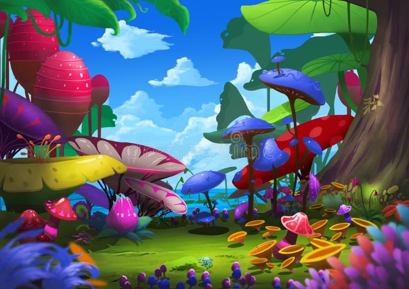 Ilustração: Floresta exótica com coisas estranhas e bonitas ilustração stock