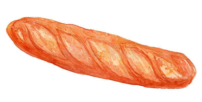 Ilustração francesa 2 da aquarela do Baguette imagem de stock royalty free