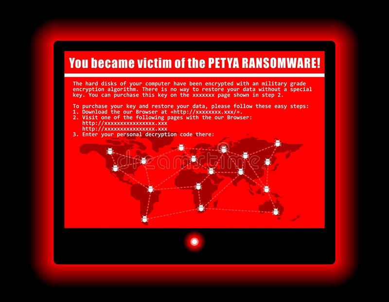 Ilustração fresca da tela do ataque do cyber do vírus de computador de Ransomware ilustração stock