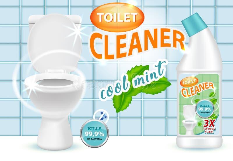 Ilustração fresca do vetor do anúncio do líquido de limpeza do toalete da hortelã ilustração royalty free